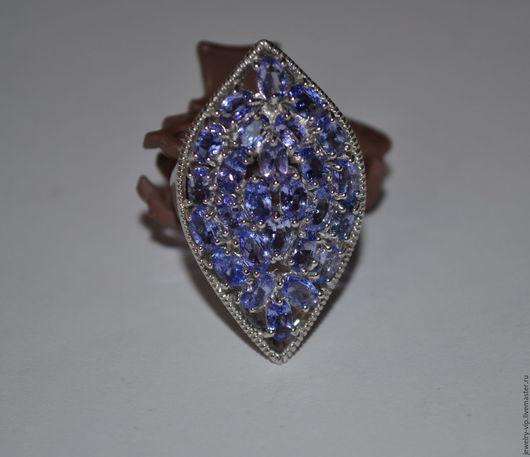 Кольца ручной работы. Ярмарка Мастеров - ручная работа. Купить Крупное кольцо - перстень - натуральные танзанит. Handmade. Танзанит