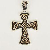 handmade. Livemaster - original item Silver Celtic cross with gold. Handmade.