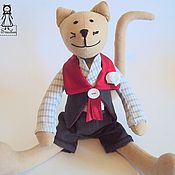 Куклы и игрушки handmade. Livemaster - original item Tilda cat with a white rose. Handmade.