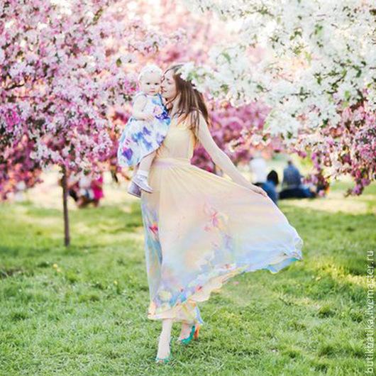 Платья ручной работы. Ярмарка Мастеров - ручная работа. Купить Шелковое платье батик Акварельное. Handmade. Разноцветный, акварель, лето