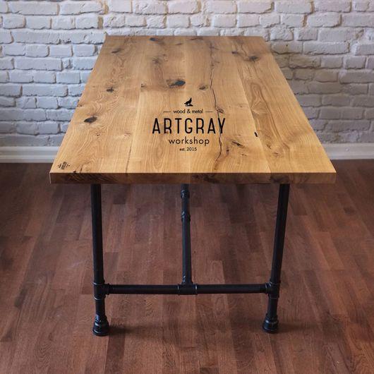 Мебель ручной работы. Ярмарка Мастеров - ручная работа. Купить Обеденный стол из массива и водопроводных труб. Handmade. Обеденный стол