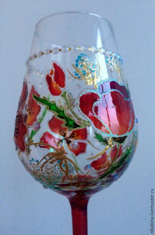 """Бокалы, стаканы ручной работы. Ярмарка Мастеров - ручная работа. Купить """"Маки"""". Handmade. Разноцветный, ручная авторская работа, стекло"""