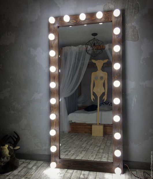 Зеркала ручной работы. Ярмарка Мастеров - ручная работа. Купить Зеркало DARK WOOD.170/80. Handmade. Коричневый, зеркало с лампами