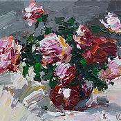 Картины и панно handmade. Livemaster - original item Pink roses Original acrylic  painting. Handmade.