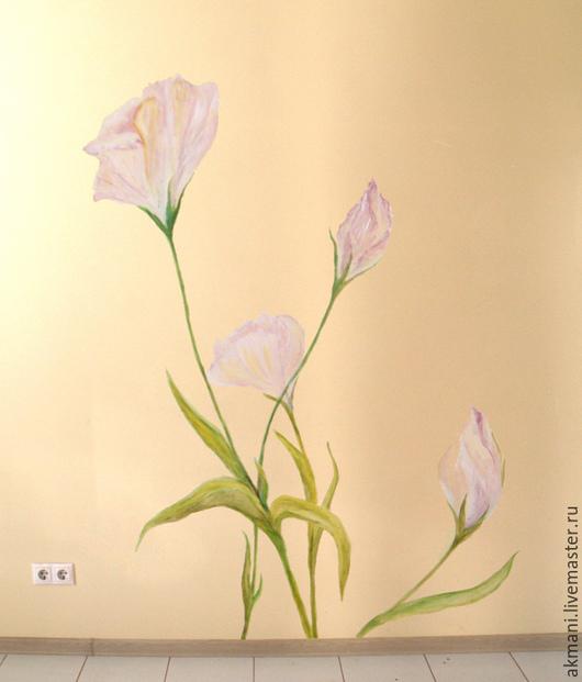 """Декор поверхностей ручной работы. Ярмарка Мастеров - ручная работа. Купить Роспись стены """"Цветочная нежность"""". Handmade. Кремовый, цветы"""