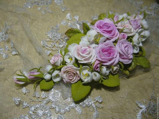Диадемы, обручи ручной работы. Ярмарка Мастеров - ручная работа. Купить Венок из цветов кустовой розы и жасмина. Handmade.