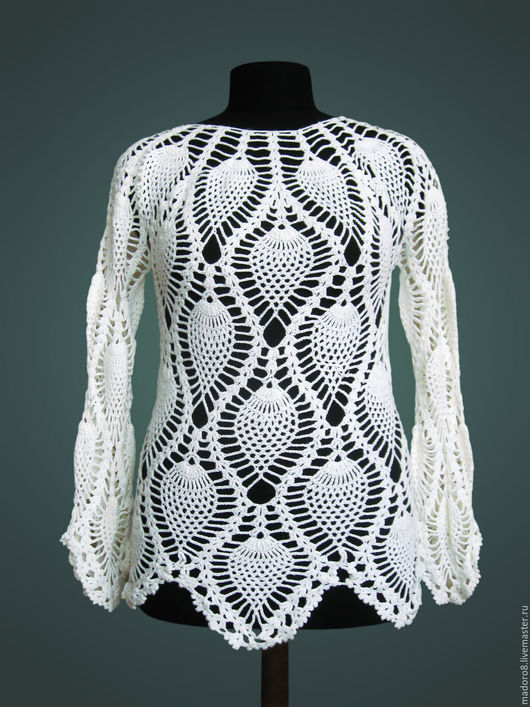 Кофты и свитера ручной работы. Ярмарка Мастеров - ручная работа. Купить Ажурный пуловер. Handmade. Белый, пуловер вязаный