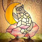 """Для дома и интерьера handmade. Livemaster - original item Stained glass nightlight """"Starlight cat"""". Handmade."""
