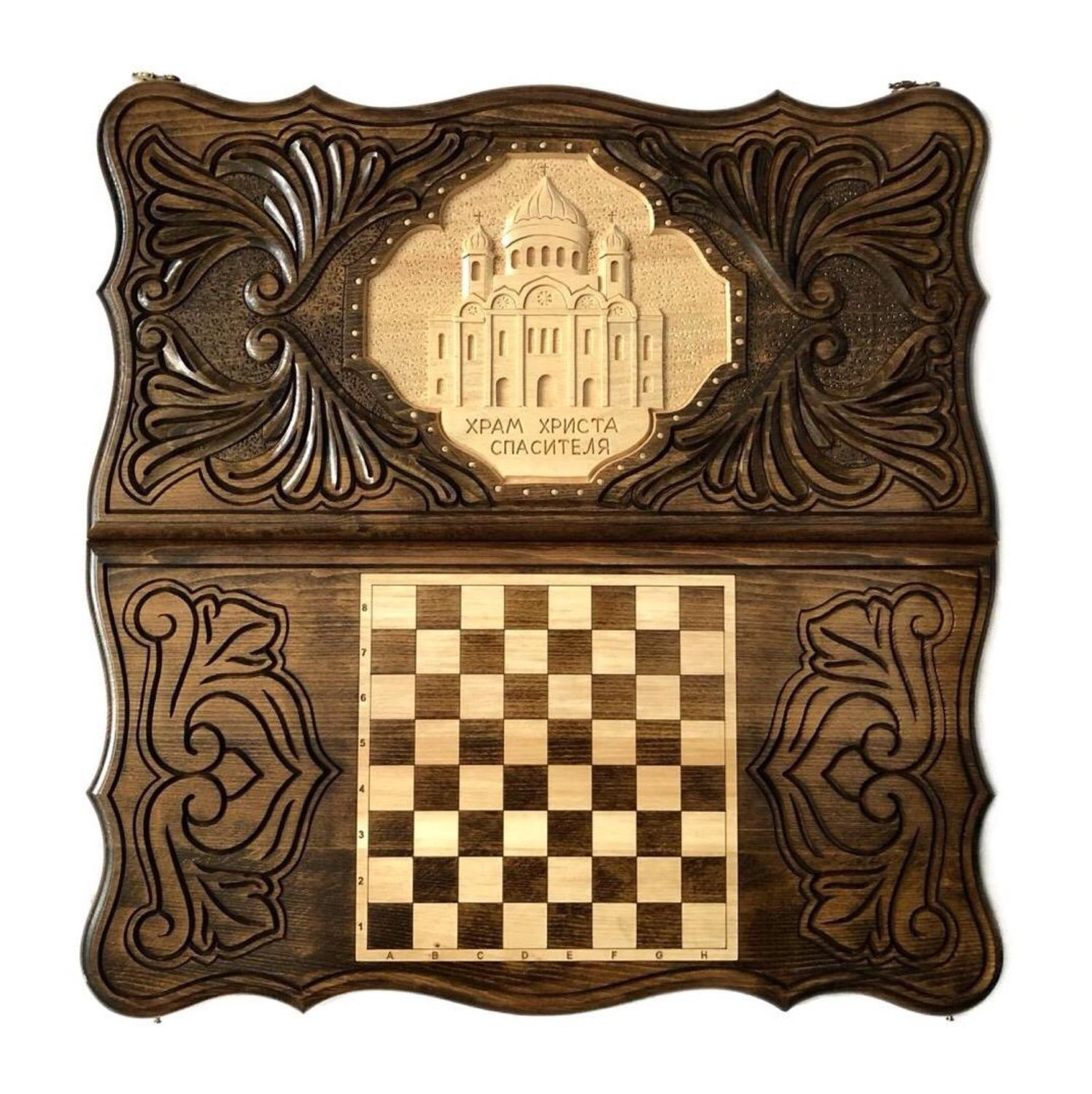 Hand-carved backgammon 'Church of Christ the Saviour' Art. .022, Backgammon checkers, Moscow,  Фото №1