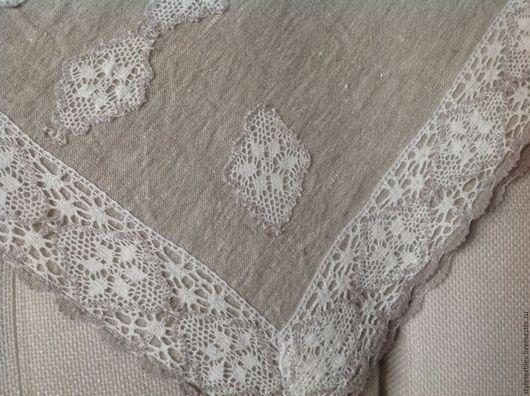 """Текстиль, ковры ручной работы. Ярмарка Мастеров - ручная работа. Купить Скатерть-дорожка """"Кружева"""". Handmade. Серый, льняная скатерть"""