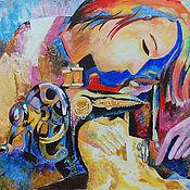 Картины и панно ручной работы. Ярмарка Мастеров - ручная работа Швея. Картина акрилом. Handmade.