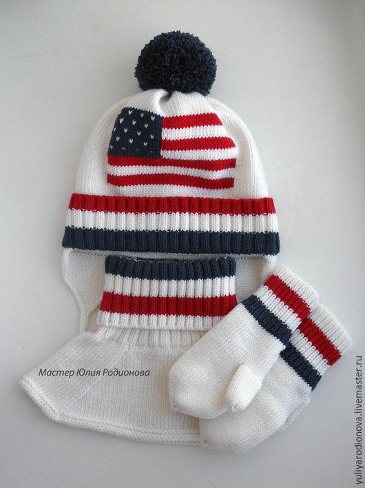 Шапки и шарфы ручной работы. Ярмарка Мастеров - ручная работа. Купить Зимний вязаный комплект для мальчика. Handmade. Разноцветный, рисунок