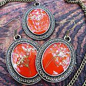 Украшения ручной работы. Ярмарка Мастеров - ручная работа комплект украшений на красном. Handmade.