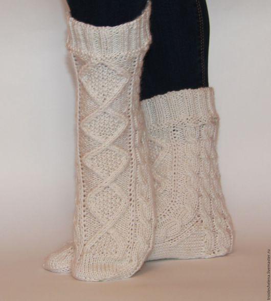 Носки, Чулки ручной работы. Ярмарка Мастеров - ручная работа. Купить Теплые носки с аранами. Handmade. Носки, белый