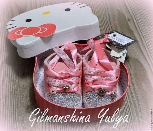 Детская обувь ручной работы. Ярмарка Мастеров - ручная работа. Купить Малышкины. Handmade. Розовый, памятный подарок, первая обувь