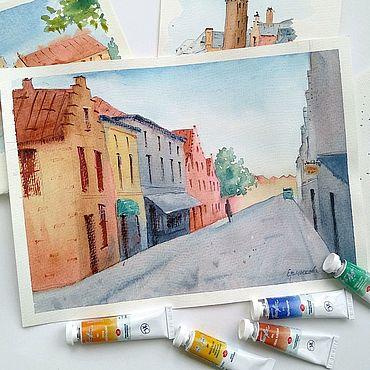 Картины и панно ручной работы. Ярмарка Мастеров - ручная работа Город картина с городским пейзажем акварелью на кухню. Handmade.