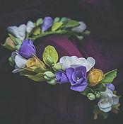 Украшения ручной работы. Ярмарка Мастеров - ручная работа Цветочный обруч с фрезией и розой из полимерной глины. Handmade.
