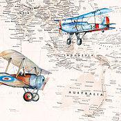 Для дома и интерьера ручной работы. Ярмарка Мастеров - ручная работа Аэропланы и  карта Индонезии и Австралии. Handmade.