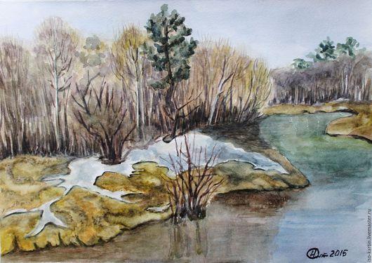 """Пейзаж ручной работы. Ярмарка Мастеров - ручная работа. Купить Авторская картина """"Весенние воды"""". Handmade. Оливковый, весенний пейзаж"""