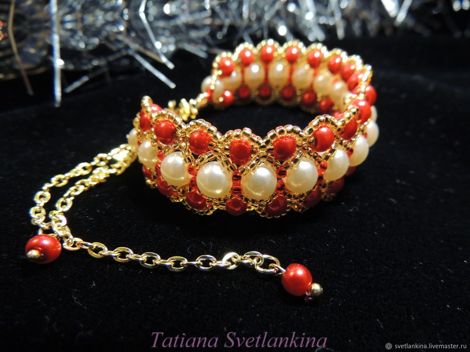 Bracelet White and Red pearl No. №1