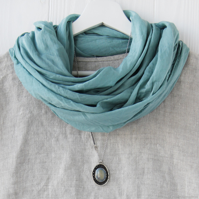 Grey-blue cotton Scarf-handkerchief, Shawls1, Tomsk,  Фото №1