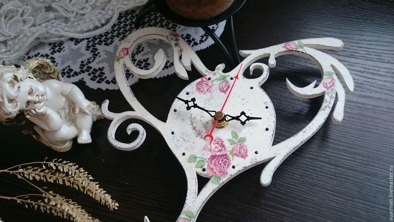 Часы настенные декупаж Ажурное Сердце шебби - шик, Часы, Мытищи, Фото №1