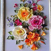 """Картины и панно ручной работы. Ярмарка Мастеров - ручная работа Картина """"Розы и эшшольция"""". Handmade."""
