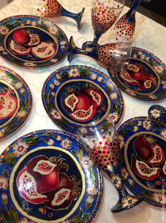"""Тарелки ручной работы. Ярмарка Мастеров - ручная работа. Купить Обеденные тарелки """" Спелые гранаты"""". Handmade. Разноцветный"""