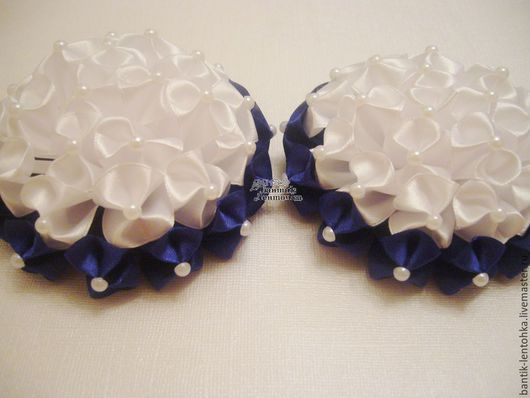 """Детская бижутерия ручной работы. Ярмарка Мастеров - ручная работа. Купить Комплект резинок """"Школьные"""" (синие). Handmade. Резинка для волос"""