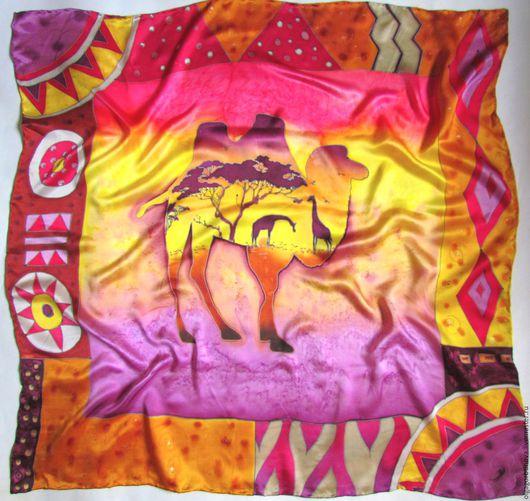 """Шали, палантины ручной работы. Ярмарка Мастеров - ручная работа. Купить Батик платок """"Верблюд"""", коллекция """"Африка"""". Handmade. Батик"""