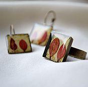 Украшения handmade. Livemaster - original item Square ring, square earrings with epoxy. Handmade.