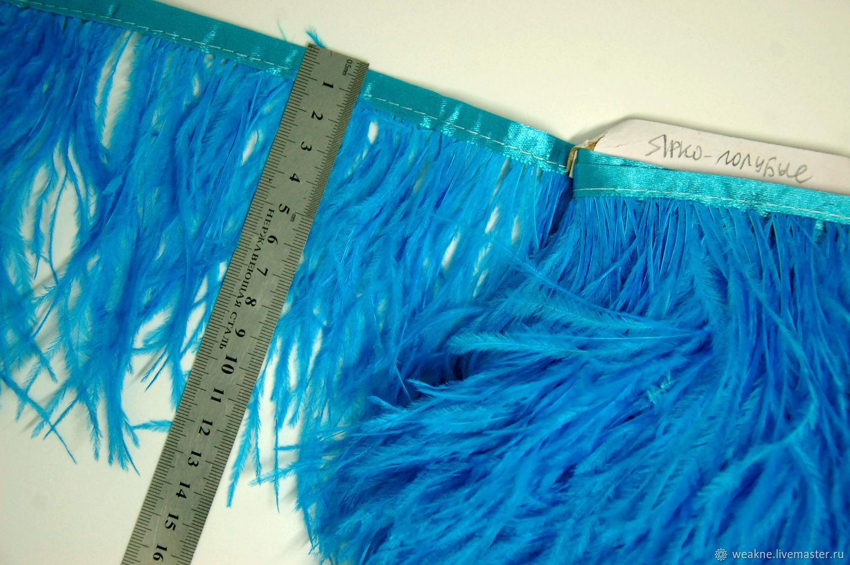 Trim of ostrich feathers 10-15 cm light blue, braid, Moscow,  Фото №1