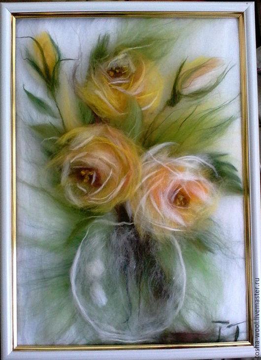 Картины цветов ручной работы. Ярмарка Мастеров - ручная работа. Купить Желтые розы в вазе. Handmade. Комбинированный, шерстяная акварель