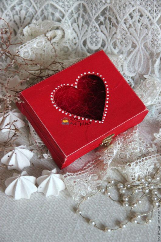 """Персональные подарки ручной работы. Ярмарка Мастеров - ручная работа. Купить Коробочка """"Сердце"""". Handmade. Ярко-красный, сердце, для колец"""
