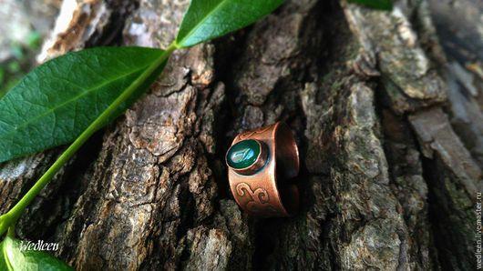 Кольца ручной работы. Ярмарка Мастеров - ручная работа. Купить Кольцо с зелёным ониксом.. Handmade. Тёмно-зелёный, кольцо медное