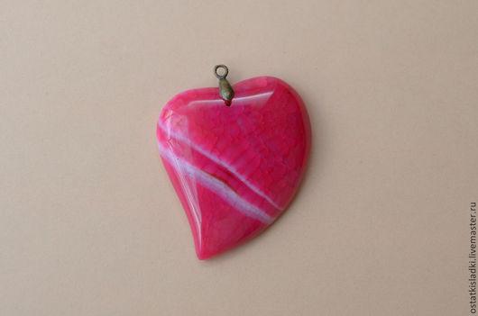 Для украшений ручной работы. Ярмарка Мастеров - ручная работа. Купить Агат кракелированный, розовое сердце. Handmade. Фуксия