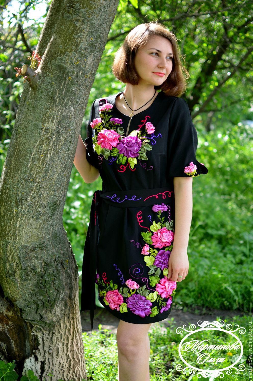 Платья с вышивкой из лент
