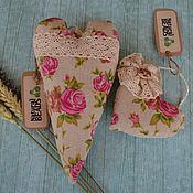 Для дома и интерьера ручной работы. Ярмарка Мастеров - ручная работа Сердечки из льна с розами. Handmade.
