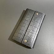 Сумки и аксессуары handmade. Livemaster - original item Purse-clutch No. 3. Caiman black belly.Large leather wallet. Handmade.