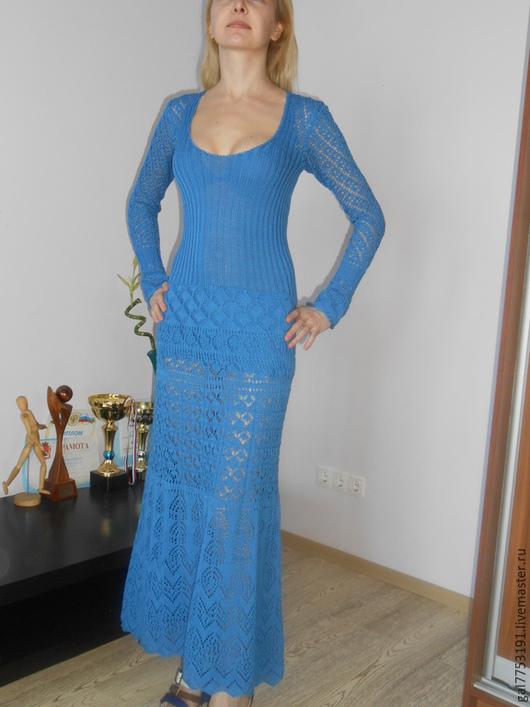 Платья ручной работы. Ярмарка Мастеров - ручная работа. Купить Ажурное платье спицами от Alberta Ferretti. Handmade. Синий