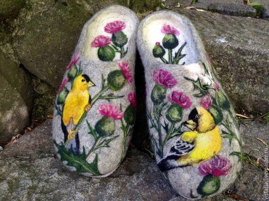 Обувь ручной работы. Ярмарка Мастеров - ручная работа. Купить Тапочки «Для свата» 31см.. Handmade. Серый