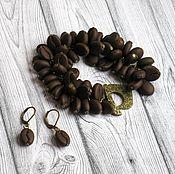Комплект украшений из полимерной глины Кофе браслет серьги коричневый