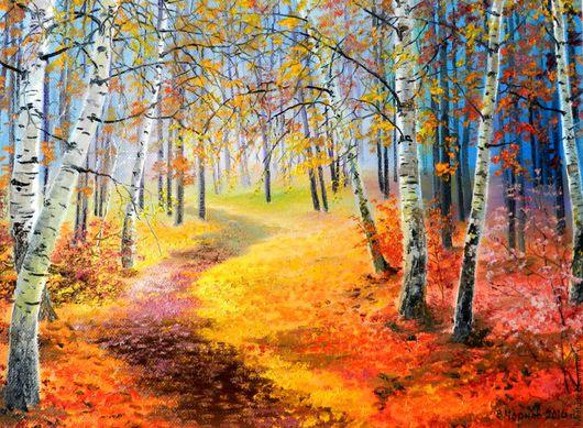 Ярмарка мастеров,яркая осень,авторская работа,пейзаж маслом,картина маслом,осенний пейзаж,картина подарит хорошее настроение