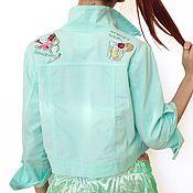 Дизайнерская куртка с ручной вышивкой, хлопковый вельвет