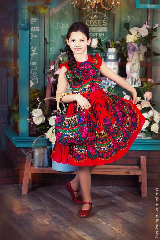 """Одежда для девочек, ручной работы. Ярмарка Мастеров - ручная работа. Купить Платье детское в русском народном стиле, яркое - красное """"Злата"""". Handmade."""