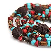 Украшения handmade. Livemaster - original item Long in the African heat beads, coral, turquoise Tibetan beads Bronzit.. Handmade.