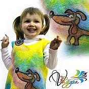 """Работы для детей, ручной работы. Ярмарка Мастеров - ручная работа Детское платье-сарафан """"Чей хвост?"""" - войлок и батик. Handmade."""