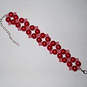 Украшения ручной работы. Ярмарка Мастеров - ручная работа Красный браслет из бусин и бисера. Handmade.