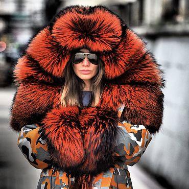 Одежда ручной работы. Ярмарка Мастеров - ручная работа Парка с мехом эксклюзивный камуфляж APRB мех fire fox. Handmade.