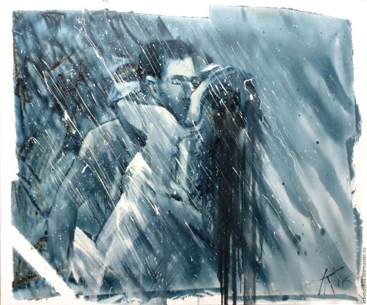Люди, ручной работы. Ярмарка Мастеров - ручная работа. Купить Французский поцелуй. Handmade. Серый, любовь, картина для интерьера, поцелуйчик